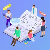 Collective Education, Group Research Isometric Vector Illustration. Research Development And Educati poster