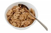 stock photo of cereal bowl  - cereals in the white bowl with spoon - JPG
