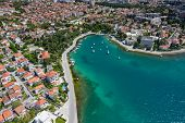 Aerial View Of City Of Zadar. Summer Time In Dalmatia Region Of Croatia. Coastline And Turquoise Wat poster