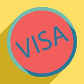 Visa Card Sign Illustration. Sunset Orange Icon With Llapis Lazuli Shadow Inside Medium Aquamarine C poster