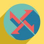 Cross From Arrows Icon. Sunset Orange Icon With Llapis Lazuli Shadow Inside Medium Aquamarine Circle poster
