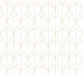 Golden Lines Pattern. Vector Geometric Seamless Texture With Subtle Grid, Thin Lines, Triangles, Dia poster