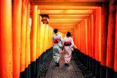 Kyoto, Japan Culture Travel - Asian Traveler Wearing Traditional Japanese Kimono Walking In Fushimi  poster