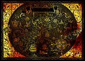 Golden Atlas Map Of Fantasy World With Pirates, Compass, Mermaid, Dragon On Black. Hand Drawn Graphi poster