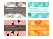 4 Design Abstract Styles Pastel Colorful Pattern. Abstract Name Cards Or Business Cards Design On Wh poster