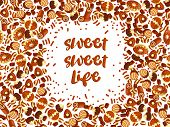 Chocolate Candy Frame Of Choco Candies On White Background. Chocolate Candy Banner, Top View, Flat L poster