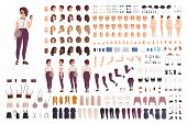 Stylish Girl Animation Kit Or Creation Set. Bundle Of Body Parts, Casual Clothes, Accessories. Trend poster