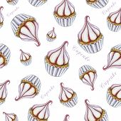 Watercolor Seamless Cupcake Pattern. Illustration Of Hand Painted Watercolor Cupcake. Isolated On Wh poster
