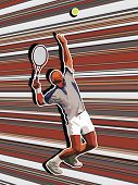 Tennis server on abstract background