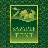 Label with green olives for olive oil products, cosmetics etc.