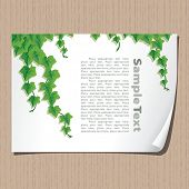 Paper sheet with ivy borders, eps10, CMYK.