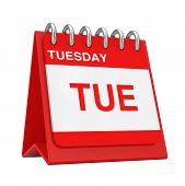 Red Desktop Calendar Icon Showing A Tuesday Page On A White Background 3d Rendering poster