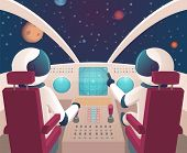 Pilots In Spaceship. Shuttle Cockpit With Pilots In Costumes Vector Cartoon Space With Planets. Illu poster