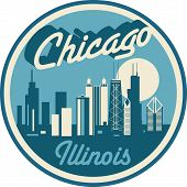Chicago Illinois Retro Style Vector Rounded Skyline poster