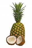 pic of pina-colada  - Fresh pinapple and coconut on white background - JPG