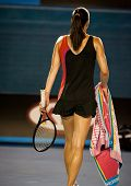 MELBOURNE - JANUARY 22: Jelena Jankovic of Serbia in her fourth round loss to Caroline Wozniacki of Denmark  at the 2012 Australian Open on January 22, 2012 in Melbourne, Australia.