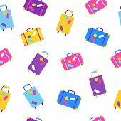 Travel Bags Seamless Pattern In Flat Style. Worldwide Traveling And Vacation Concept. Suitcases And  poster