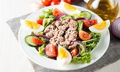 Fresh Fish Tuna Salad Made Of Tomato, Ruccola, Tuna, Eggs, Arugula, Crackers And Spices. Caesar Sala poster