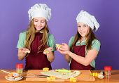 Dessert Made With Care. Small Children Baking Dessert Together. Little Girls Cooking Sweet Baked Pas poster