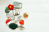 Delicious Key, House, Plant,window,heart And Welcome Sign Cookies On White Wood, Flat Lay With Space poster