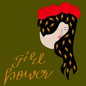 Vector Vintage Logo Of A Girl Power. Retro Poster With Text Of A Girl Power.girl Power, Empowered Wo poster