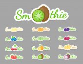 Smoothie Cocktail Label Logo Set Vector Illustration. Natural Fruit With Smoothie Sign At Fresh Smoo poster