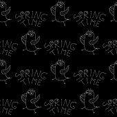 Cute Cartoon Spring Bird Background With Hand Drawn Dancing Birds. Sweet Vector Black And White Spri poster