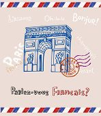 Arc de triomphe in Paris, post card in doodle style