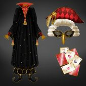 Joker Or Jester Costume Realistic Vector With Black Mantle Decorated Precious Stones, Face Mask, Cur poster