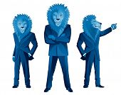 Three lion businessmen mascots in different poses