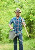 Growing Plants. Mature Guy Cowboy Hat With Watering Can And Shovel. Arbor Day. Planting Trees. Commi poster