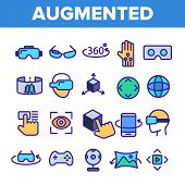 Augmented, Virtual Reality Linear Vector Icons Set. Augmented Virtual Reality Symbols Pack. Digital  poster