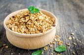 Healthy Cereal Snacks. Fitness Dietary Super Food. Homemade Granola. Baked Flakes In Wooden Bowl On  poster