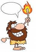 Talking Caveman Holding Up A Fiery Torch