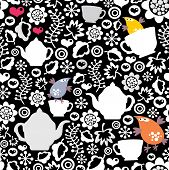 Birds and cups seamless pattern.