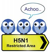 picture of avian flu  - H5N1 bird flu sign with bird sneezing - JPG