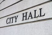 stock photo of hall  - City Hall Sign - JPG