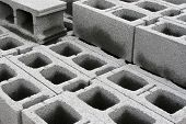 image of cinder block  - concrete blocks laying around a construction site - JPG
