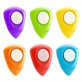 Set of bright glossy geo-tagging plastic icons
