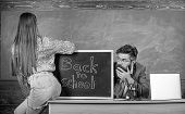 Breaking Rules. School Behaviour Discipline Rules. Teacher Or School Principal Absorbedly Looking Bu poster