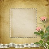 stock photo of mother-of-pearl  - Vintage old postcard for congratulation with roses and pearls - JPG