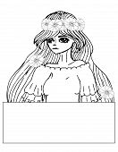 Portrait Young Beautiful Girl With The Long Hair And Flower Coloring Page poster