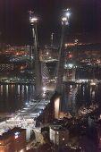 night view of construction of big guyed bridge in the Russian Vladivostok over the Golden Horn bay