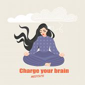 Pretty Girl Sits In A Yoga Pose And Meditates. Conceptual Image Of The Benefits Of Practicing Medita poster