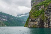 Panoramic View Of Geiranger Fjord Near Geiranger Seaport, Norway. Norway Nature And Travel Backgroun poster