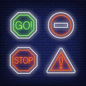 Exclamation Mark, Go And Stop Traffic Neon Signs Set. Road Signs Or Warnings Design. Night Bright Ne poster