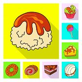 Vector Design Of Confectionery And Culinary Logo. Set Of Confectionery And Colorful Vector Icon For  poster