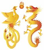 Dragon And Phoenix Chinese Symbols Illustration