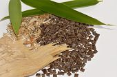 picture of biomolecule  - Biopolymer with natural materials like wood and bamboo leafes  - JPG