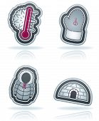 pic of igloo  - All things (objects) which are related to a winter time. Pictured here left to right top to bottom:  Temperature Winter gloves Winter jacket Igloo.  Vector icons set (22 Degrees blue icons set) saved as an EPS version 10. - JPG